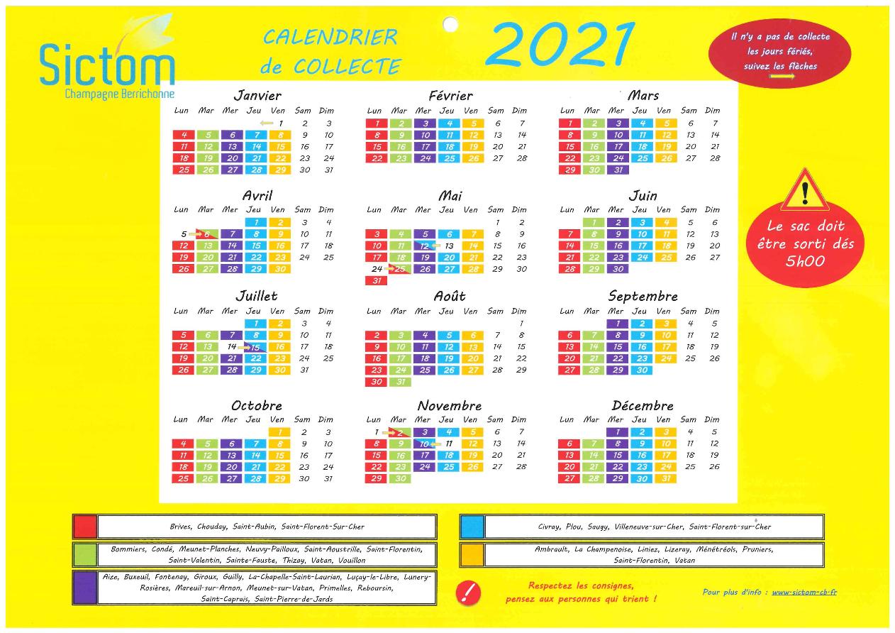 Calendrier 2021 Collecte Ordures Ménagères